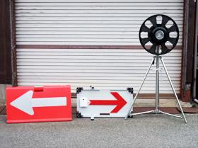 二方向矢印板 LEDキャノン警告灯